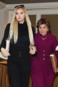 NEW YORK, NY - JANUARY 04: Molly O'Malia, 14, and her attorney Gloria Allred are seen leaving a press conference to respond to O.K. Magazine's December 28, 2015 cover story that allegedly portrays O'Malia as being romantically involved with rapper Tyga at Omni Berkshire Place Hotel on January 4, 2016 in New York City. (Photo by Cindy Ord/Getty Images)