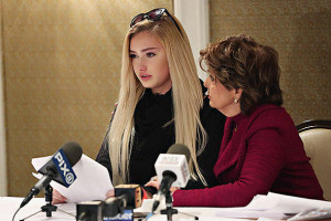 NEW YORK, NY - JANUARY 04: Molly O'Malia, 14, and her attorney Gloria Allred speak during a press conference to respond to O.K. Magazine's December 28, 2015 cover story that allegedly portrays O'Malia as being romantically involved with rapper Tyga at Omni Berkshire Place Hotel on January 4, 2016 in New York City. (Photo by Cindy Ord/Getty Images)